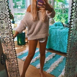 Sweaters - Baby Pink Plush Off Shoulder Fuzzy Sweater Knit 🌈